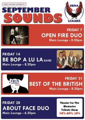 Erina Leagues Club monthly entertainment poster (2012)